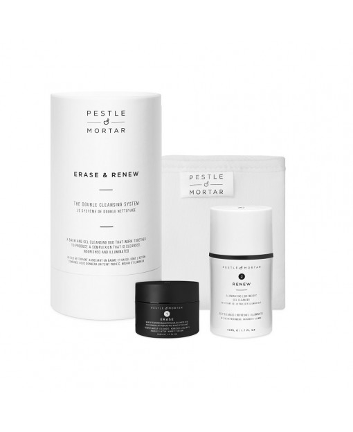 THE DOUBLE CLEASING SYSTEM. ERASER+RENEW 50+50ML. PESTLE&MORTAR